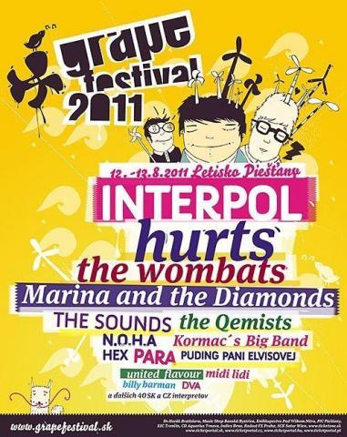 Na slovenském Grape festivalu bude i letos zajímavá hudební úroda: Interpol, Hurts, The Wombats, Marina & The Diamonds, The Sounds nebo The Qemists.