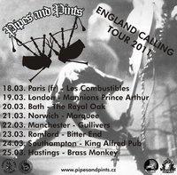 Pipes & Pints jedou England Calling Tour 2011